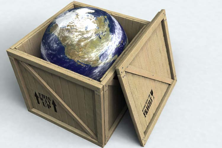 The planet Earth boxed up in a wooden crate. 3D rendering with raytraced textures and HDRI lighting.